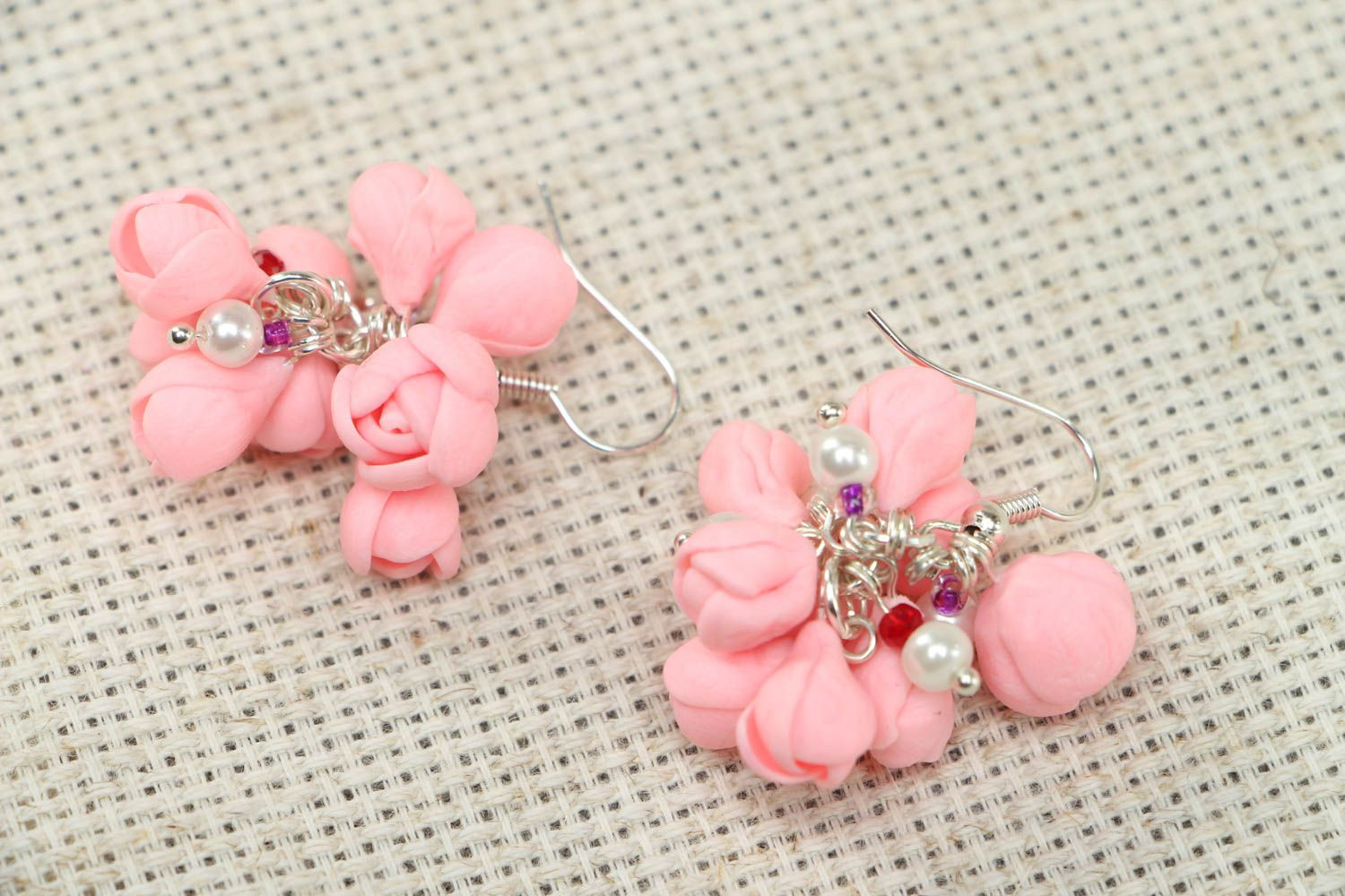 Pink plastic earrings photo 1