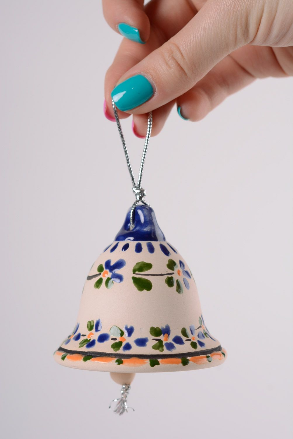 Handmade ceramic bell with painting majolica style with a loop interior decor ideas photo 2