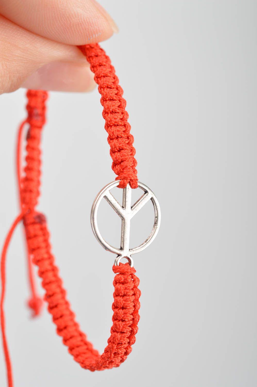 Handmade decorative bracelet with symbol of peace designer textile accessory photo 3