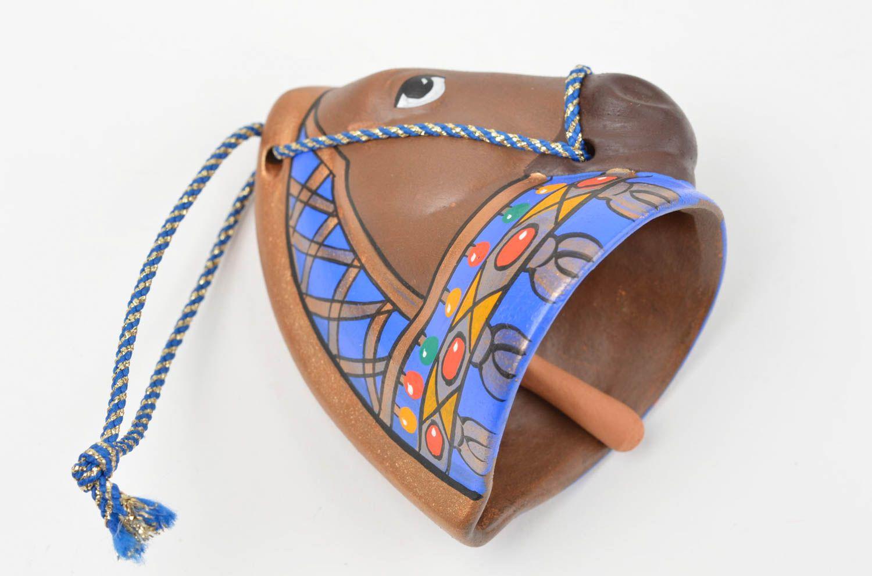 Handmade unusual ceramic bell cute souvenir in shape of horse unusual home decor photo 4