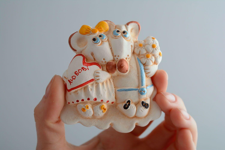 Clay fridge magnet Mice photo 4