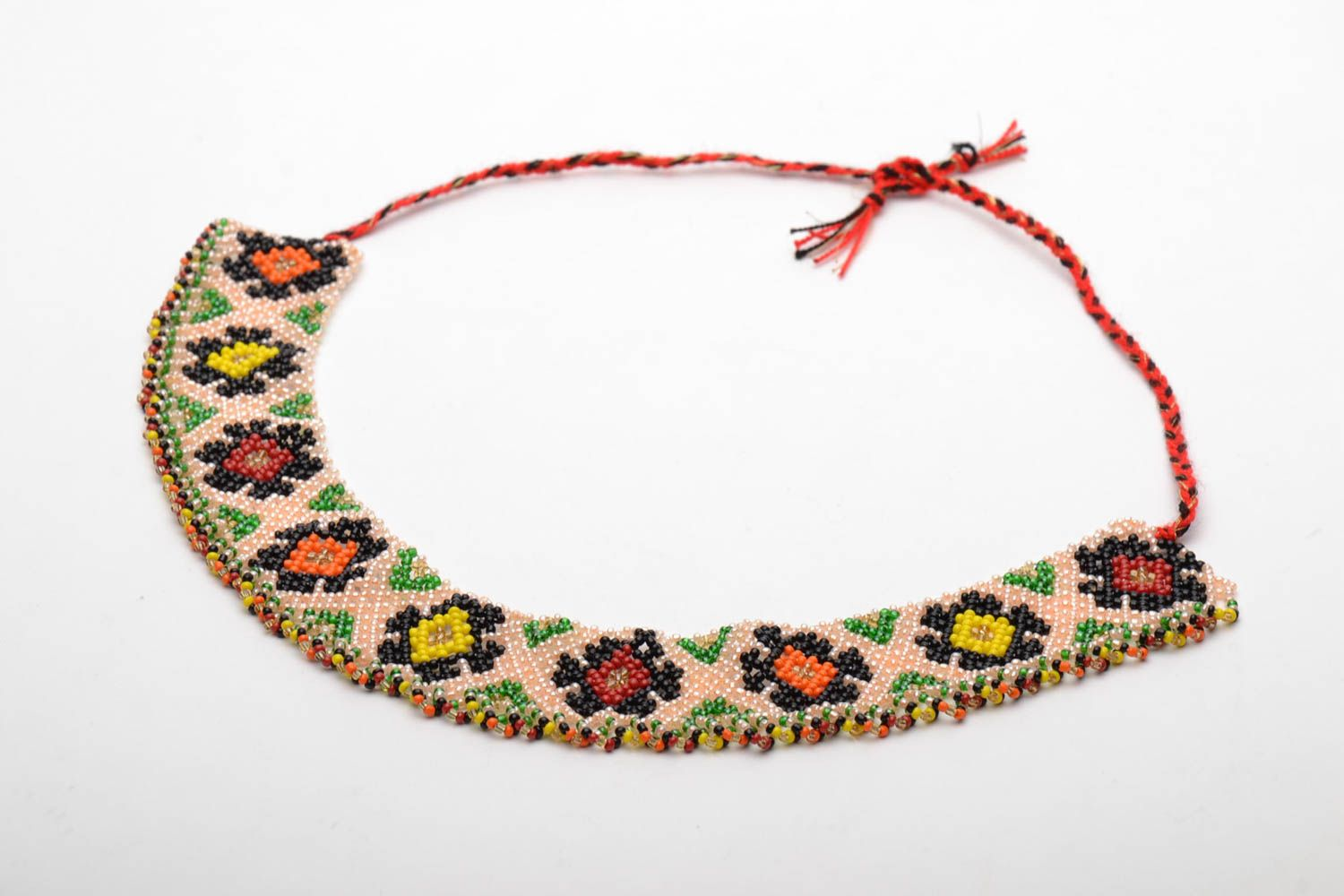 Wide beaded necklace in ethnic style photo 3