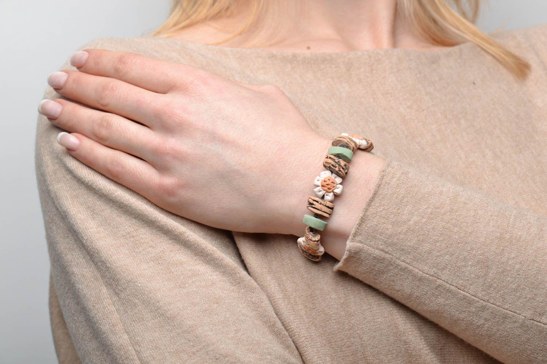 Глиняный браслет на вощеном шнурке фото 2