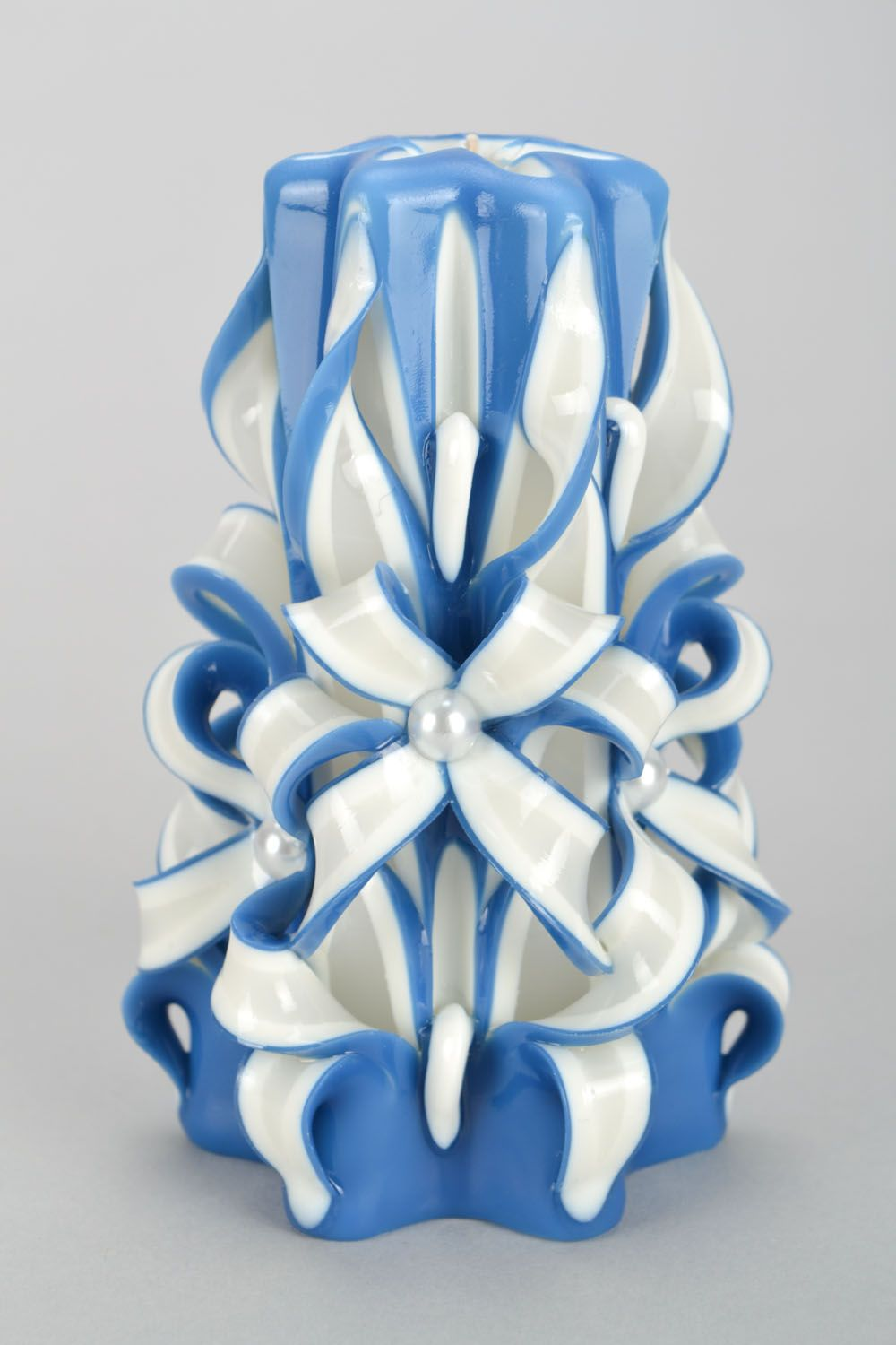 candles White and blue carved candle - MADEheart.com