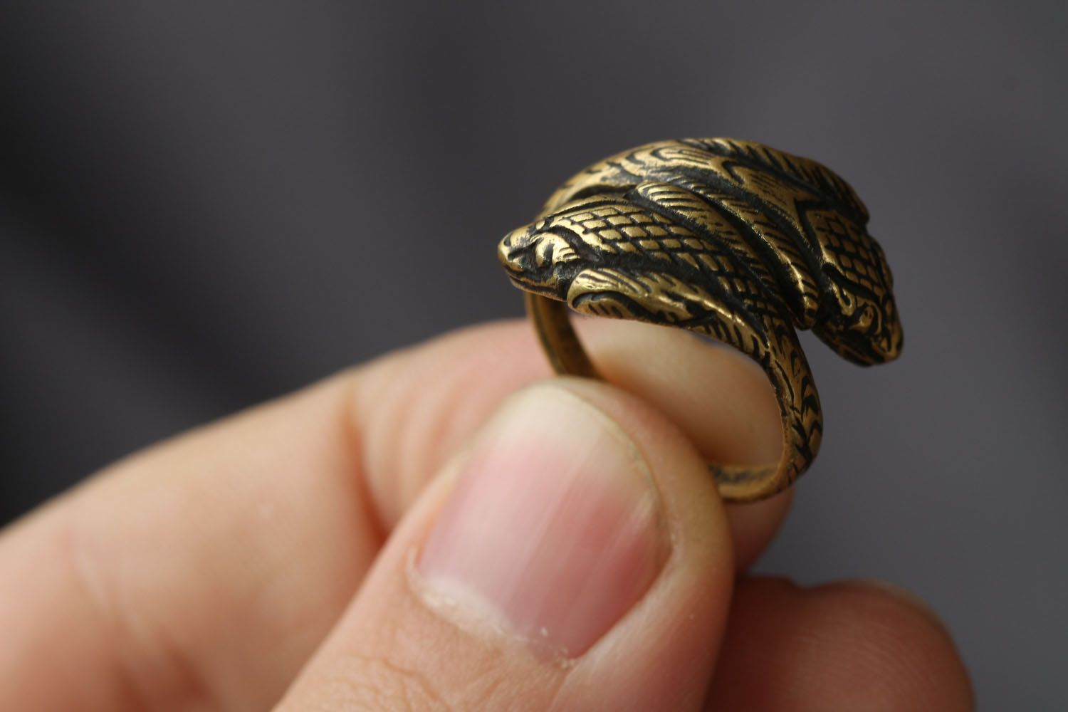 Handmade bronze ring Two Cobras photo 3