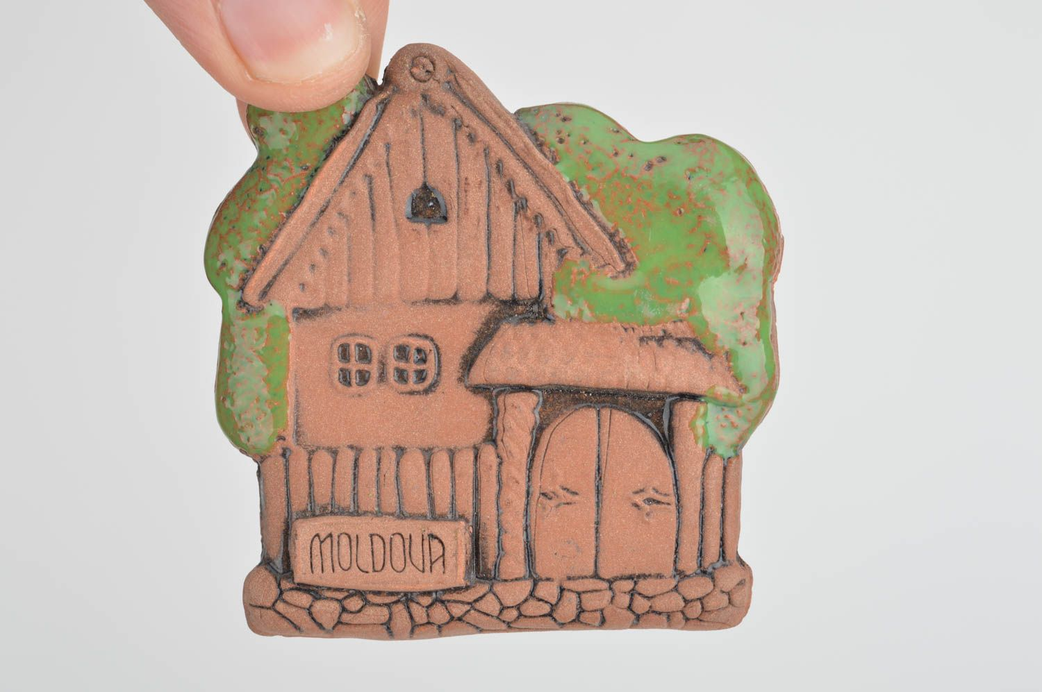 Unusual handmade painted ceramic fridge magnet in ethnic style Country House photo 3