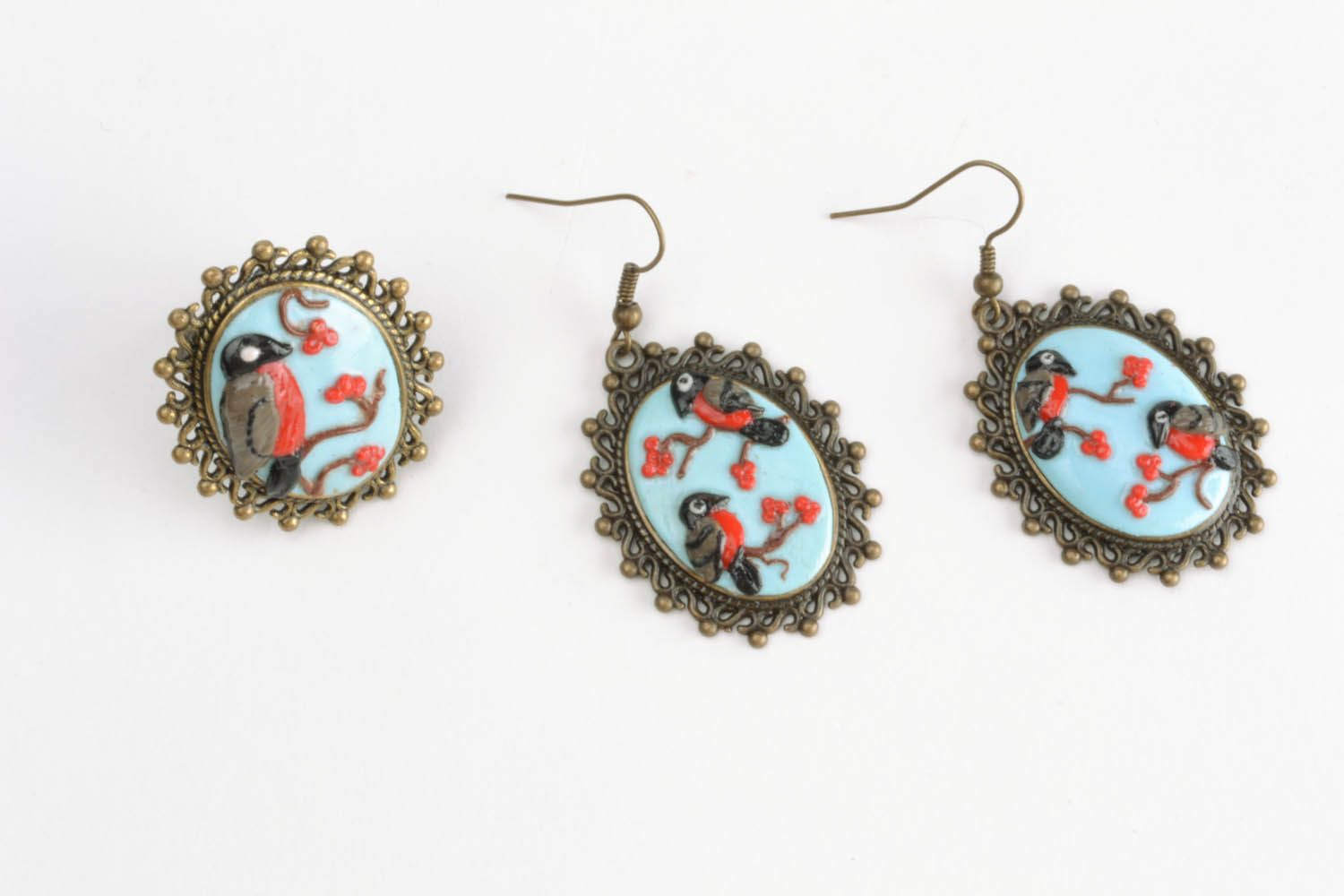 Polymer clay jewelry set Bullfinches photo 4