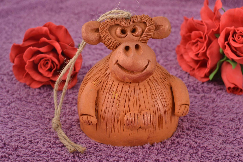Unusual beautiful handmade designer molded clay bell Monkey photo 1