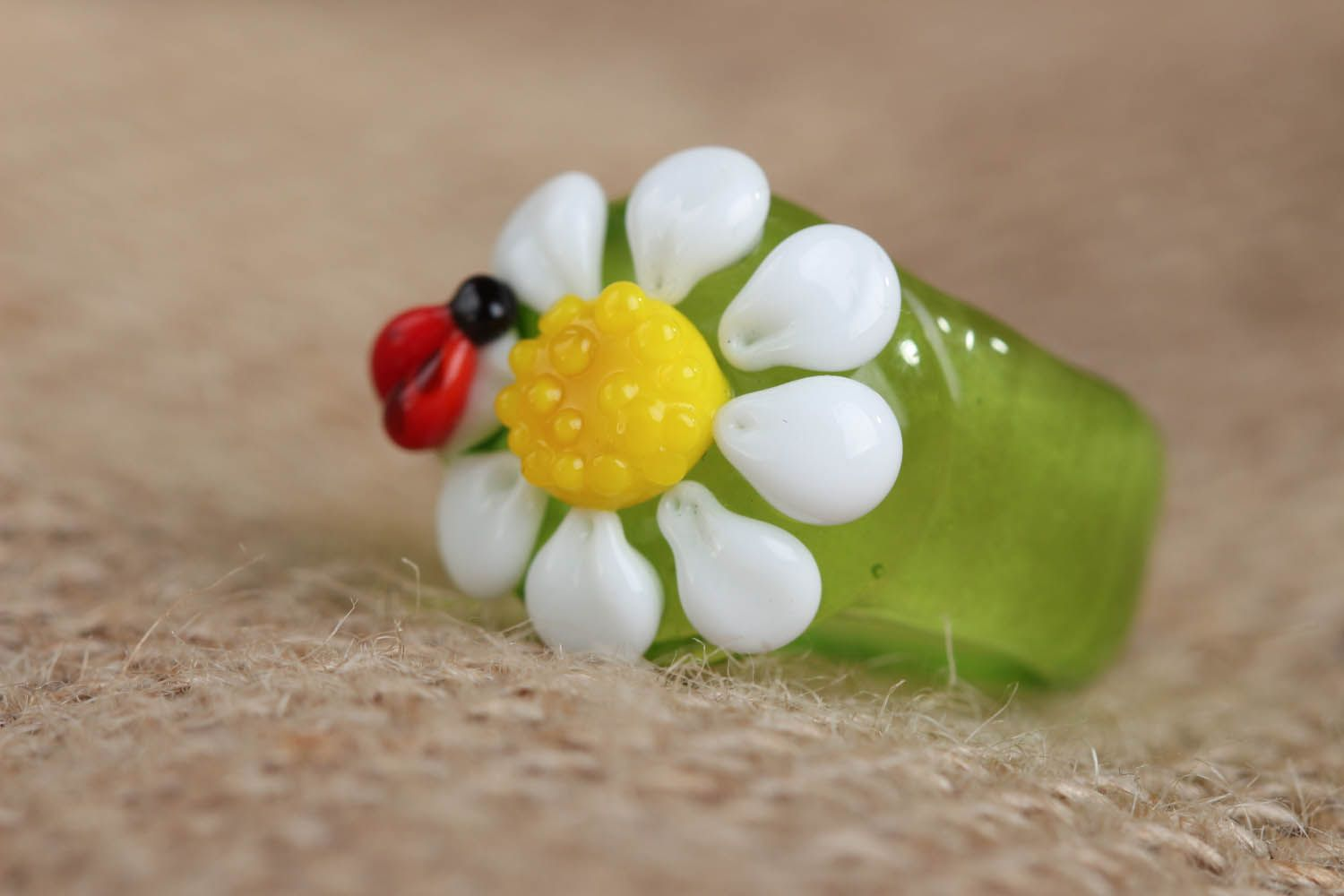 Homemade glass ring Daisy with Bug photo 1