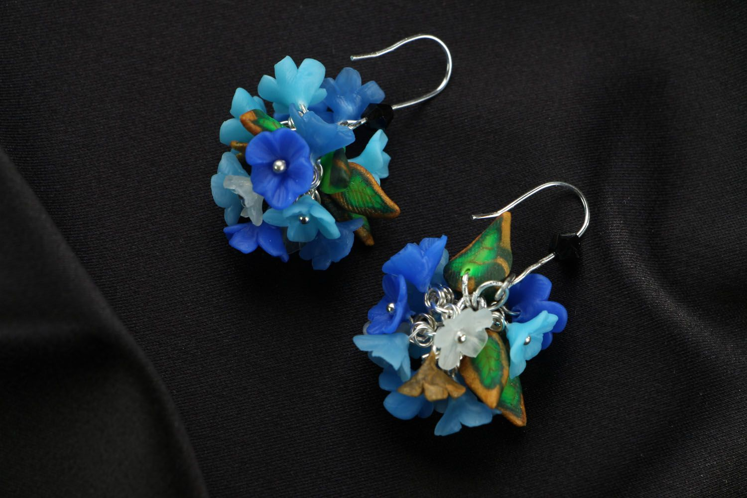 Bright plastic earrings Forget-Me-Nots photo 1