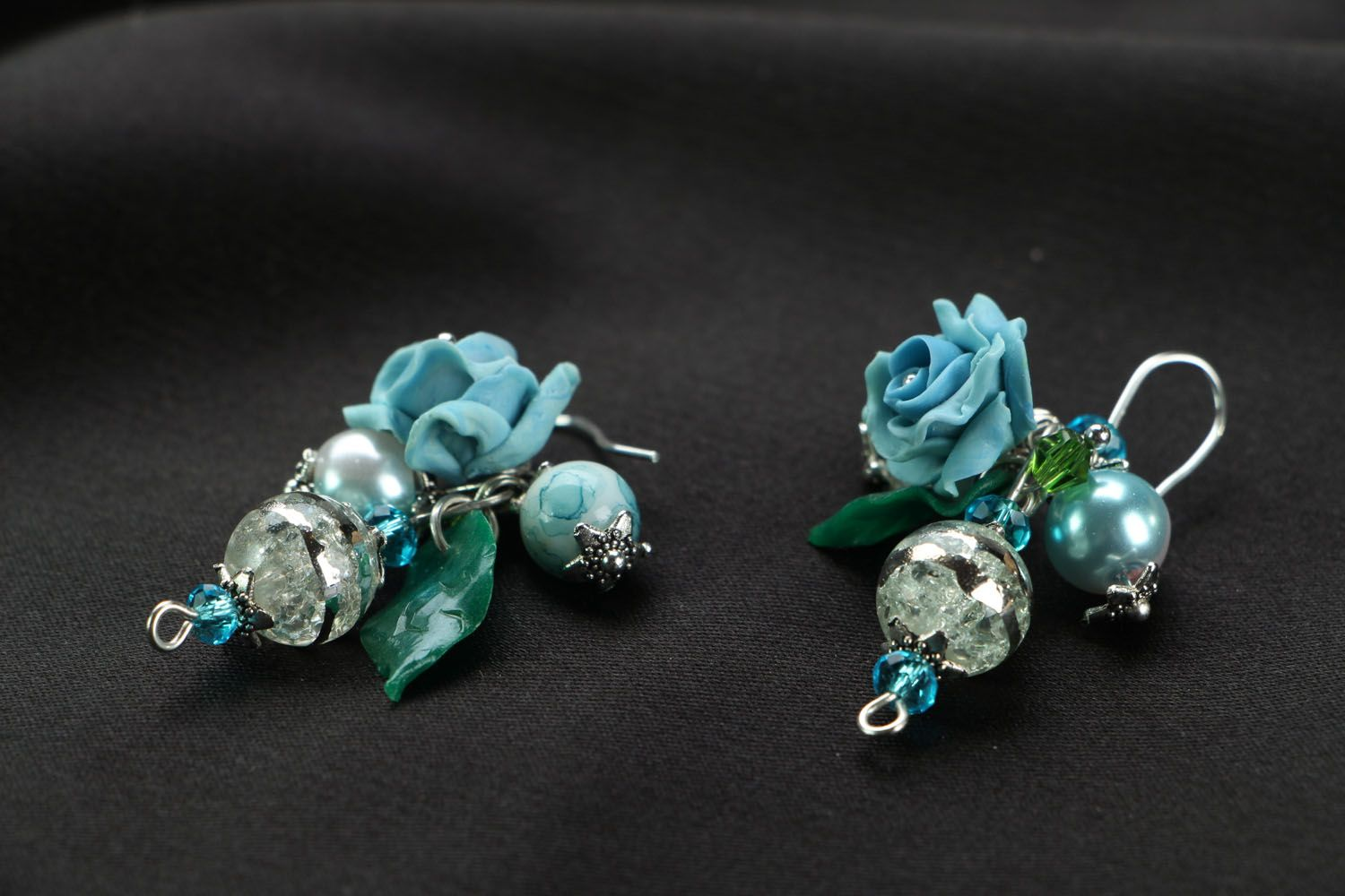 Earrings with charms Blue Roses photo 2