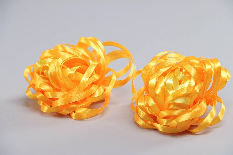 Набор резинок для волос из лент оранжевый ручной работы авторский 2 штуки фото 3