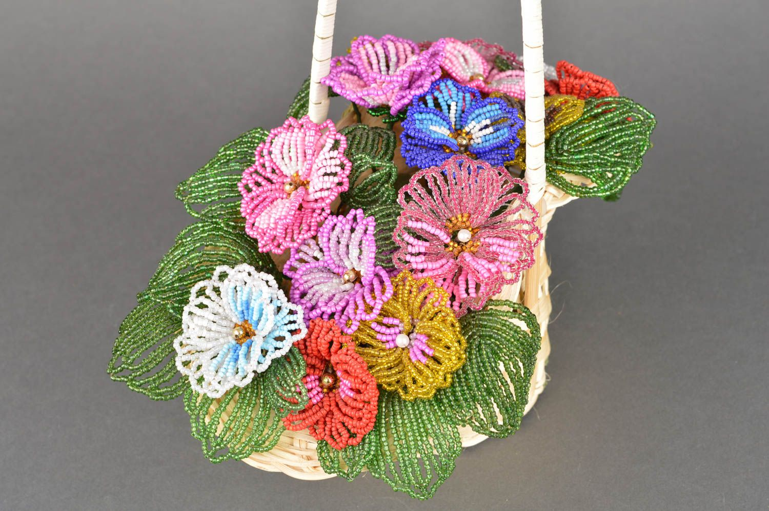 Handmade decorative basket with artificial beaded colorful flowers for interior photo 5