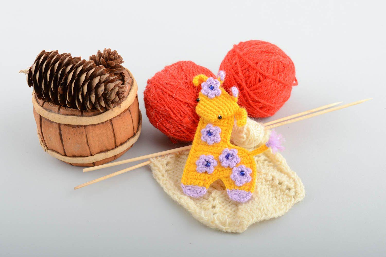 Handmade decorative soft crocheted magnet toy yellow Giraffe with flowers  photo 1