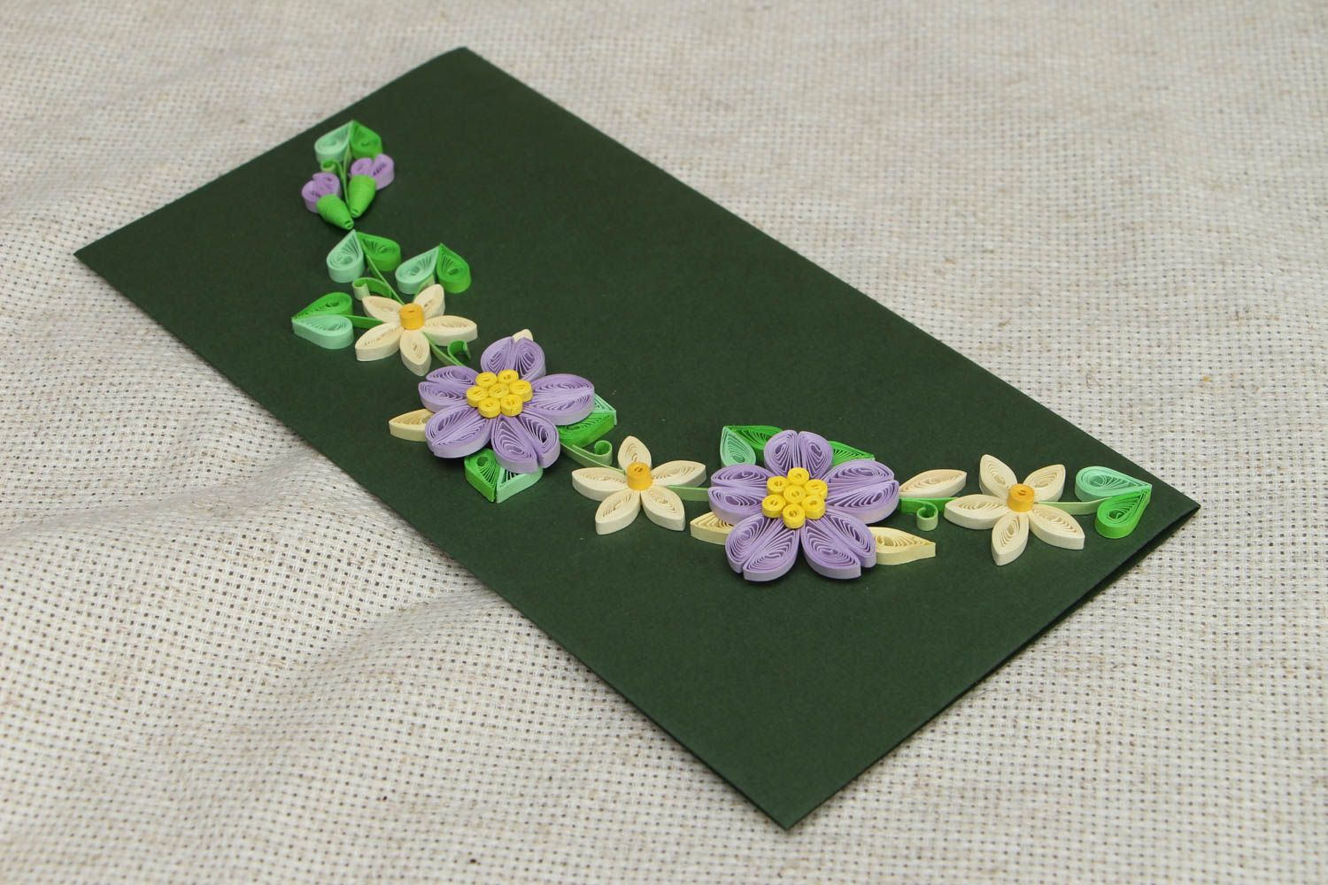 Long greeting card with flowers photo 3