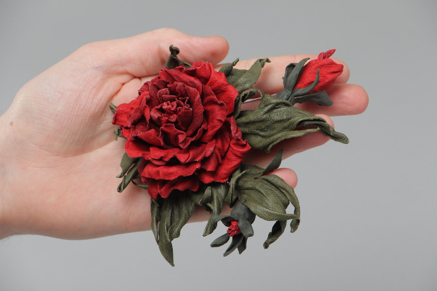 Handmade natural leather brooch with dark red volume flower for outer clothes photo 5