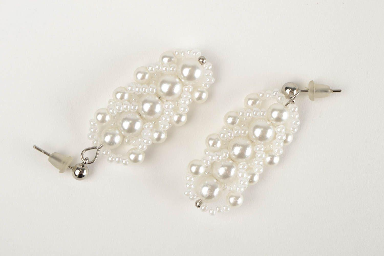 Handmade beaded earrings designer stylish jewelry unique bijouterie for woman photo 3