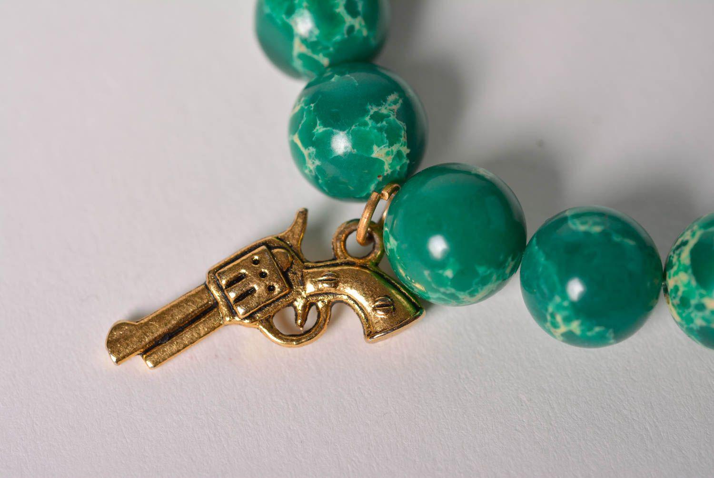 Handmade designer wrist bracelet with green pressed variscite beads for women photo 4