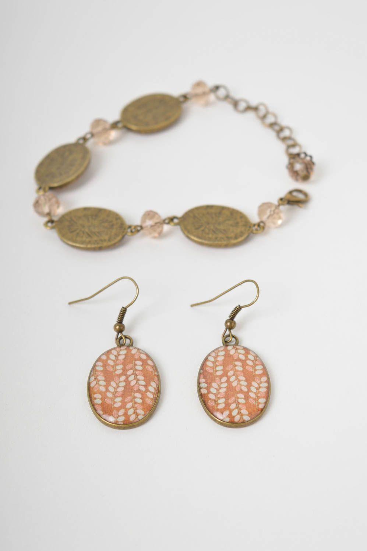Handmade lovely earrings stylish cute jewelry set unusual designer bracelet photo 2