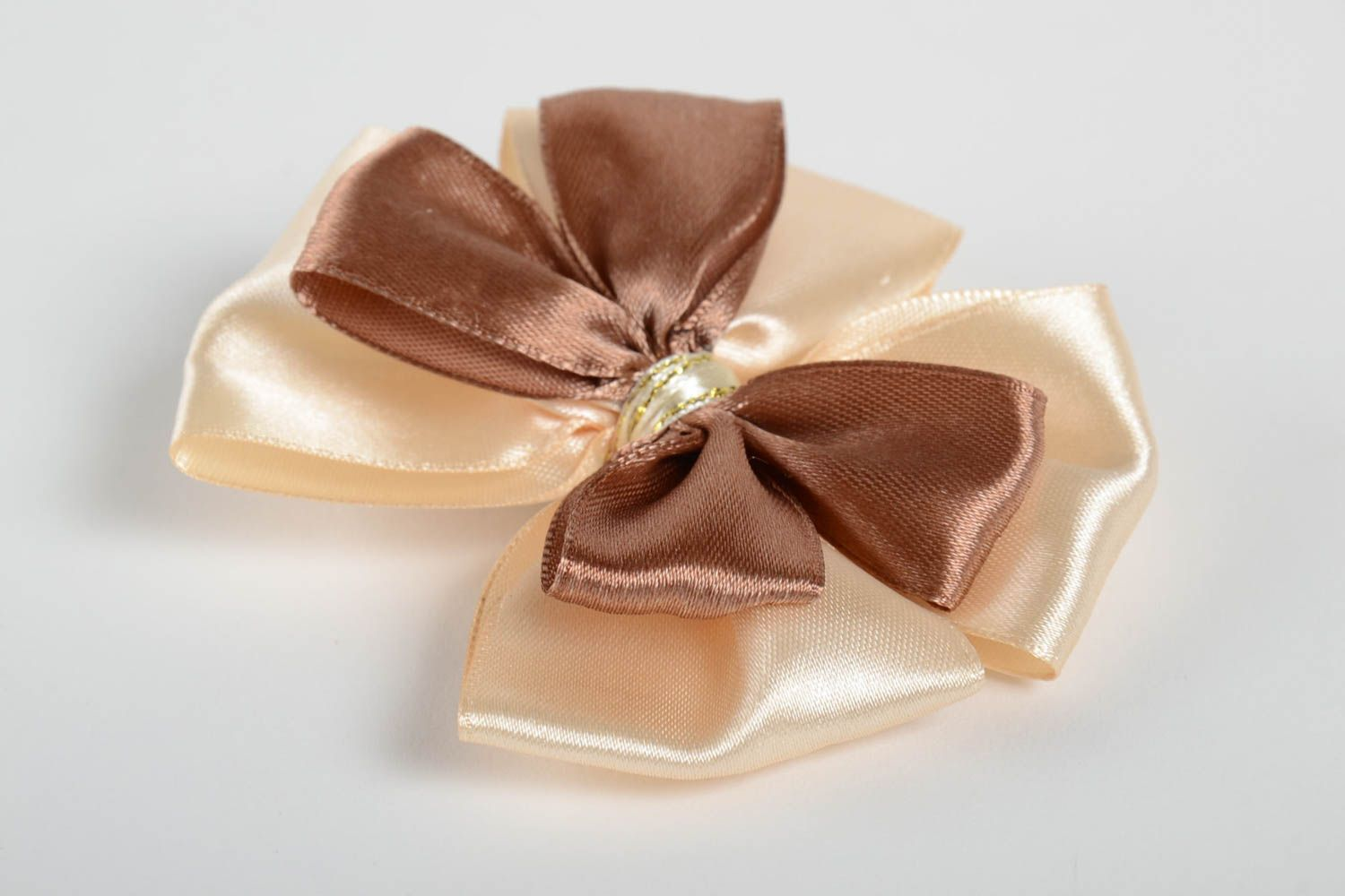 Handmade unusual hair clip accessory in shape of bow stylish satin hair clip photo 2