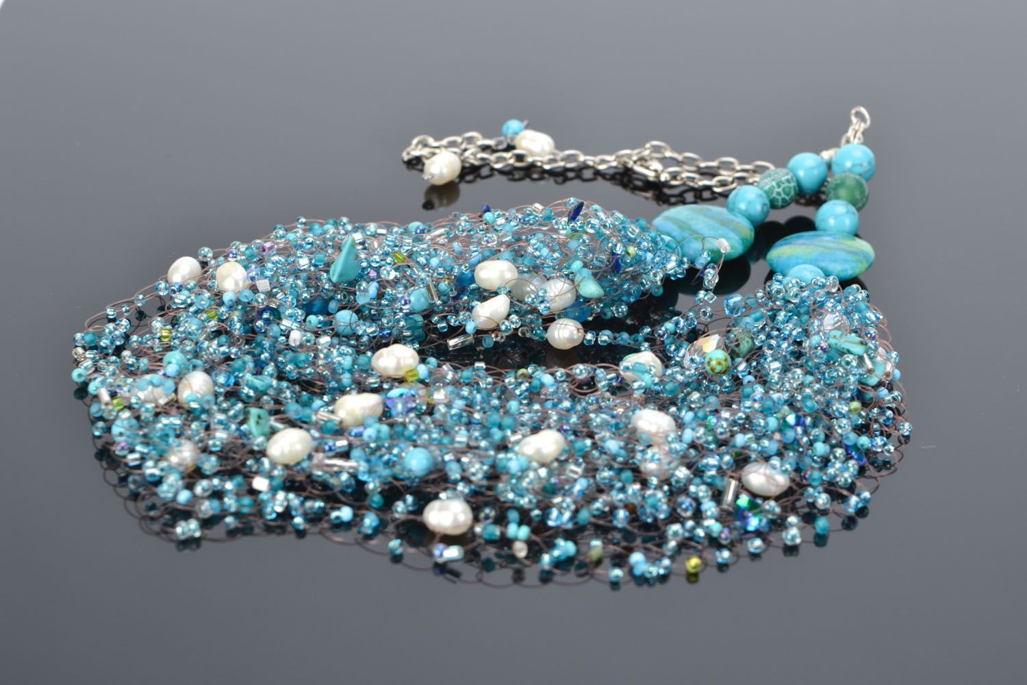 Necklace and bracelet with river pearl and turquoise photo 1