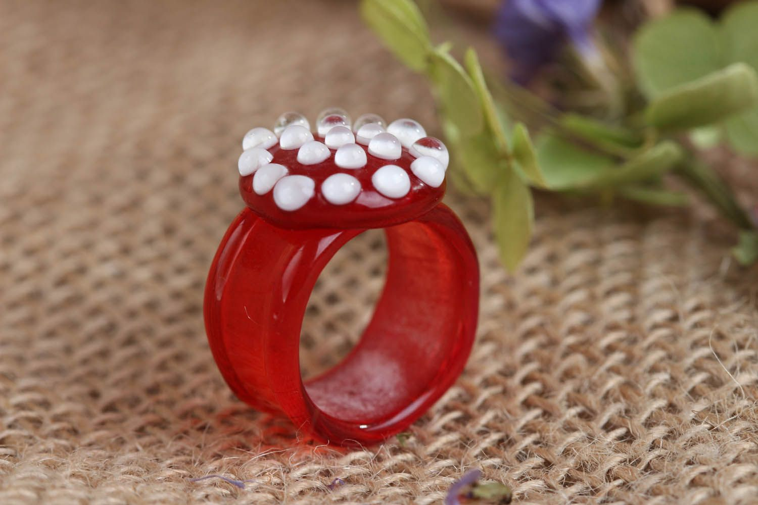 Homemade glass ring Death Cup Blossom photo 1