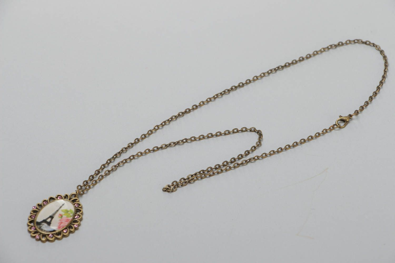 Handcrafted vintage necklace on a long chain with a pendal made of glass glaze photo 2