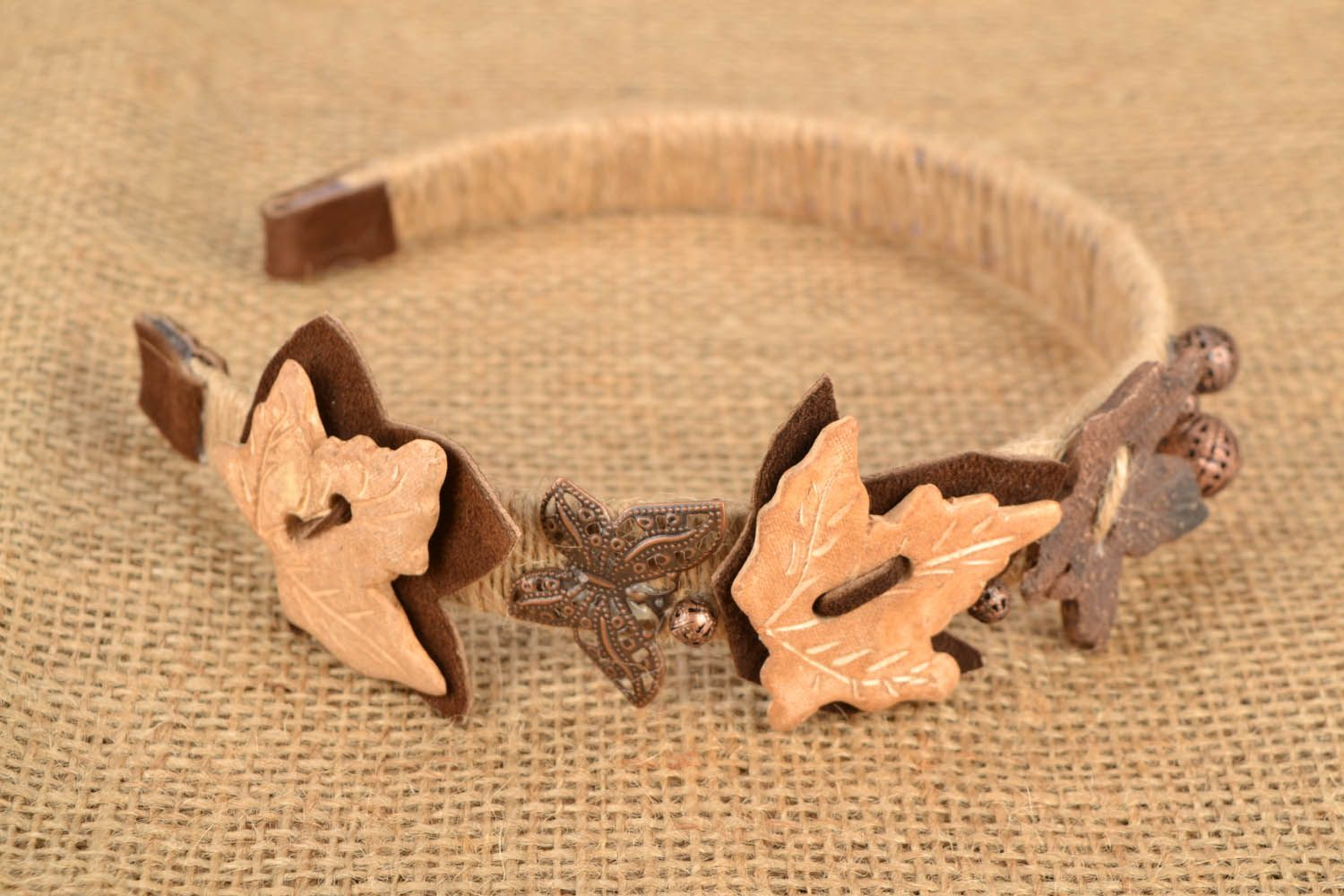 Hairband with leather insets photo 1