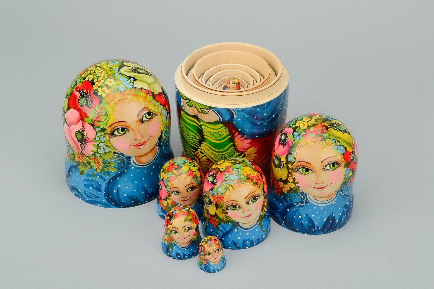Wooden patterned matryoshka doll Poppy flower photo 5