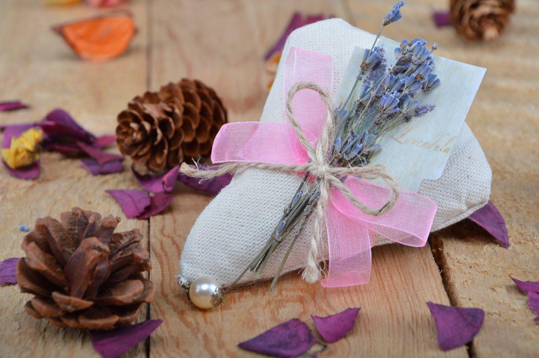 Handmade linen fabric sachet pillow filled with aroma herbs photo 5