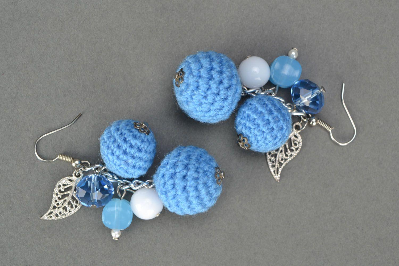 Crochet bead earrings photo 3