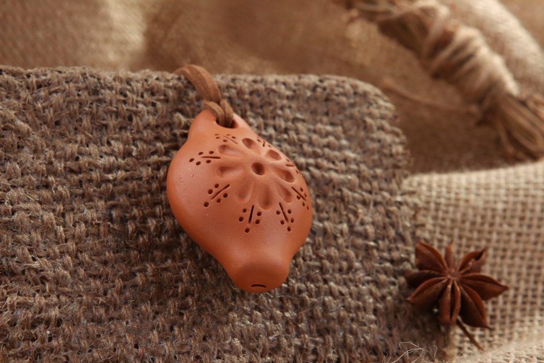 Ceramic tin whistle pendant with embossment photo 5