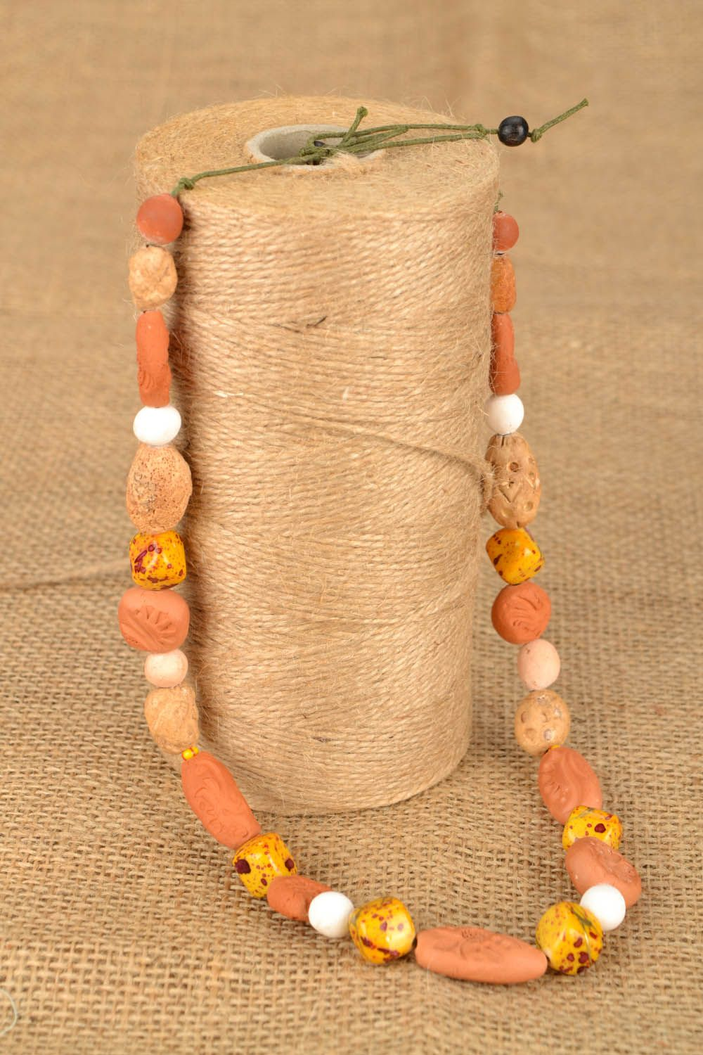 Clay beaded necklace Ethnic photo 1