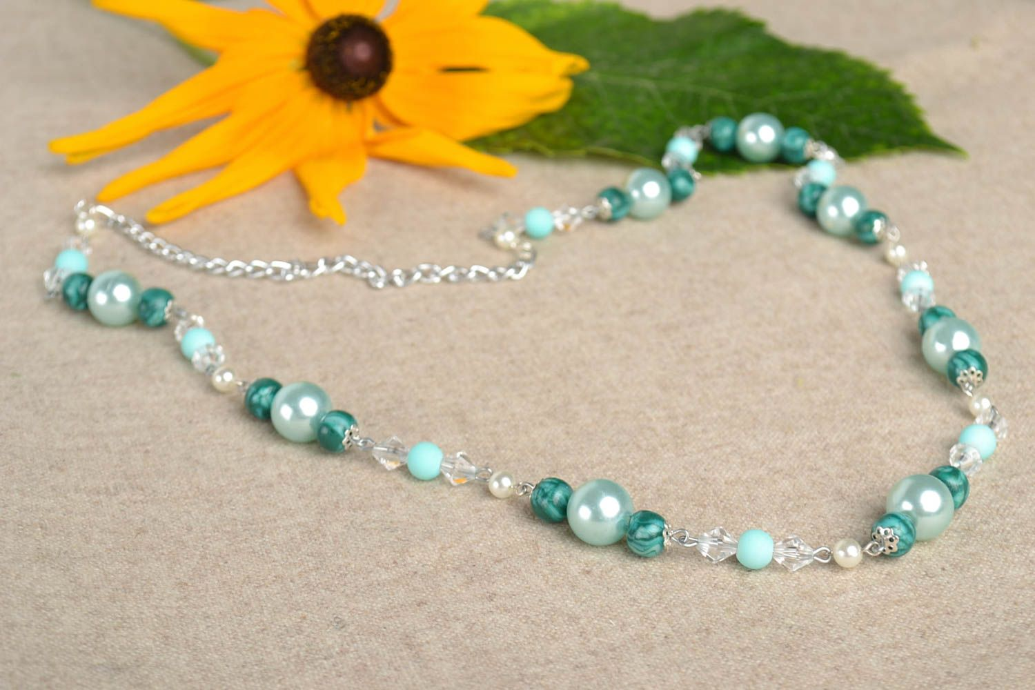 Bead necklace handmade jewelry polymer clay beaded necklace fashion accessories photo 1