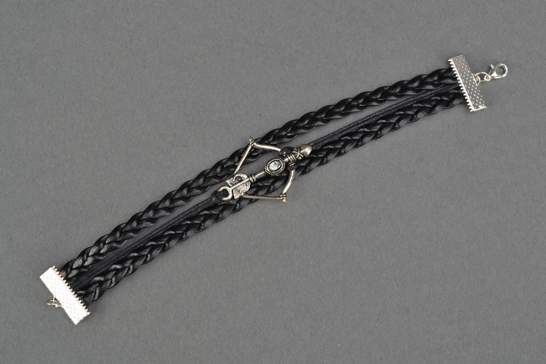 Woven genuine leather wrist bracelet with arbalest charm photo 4