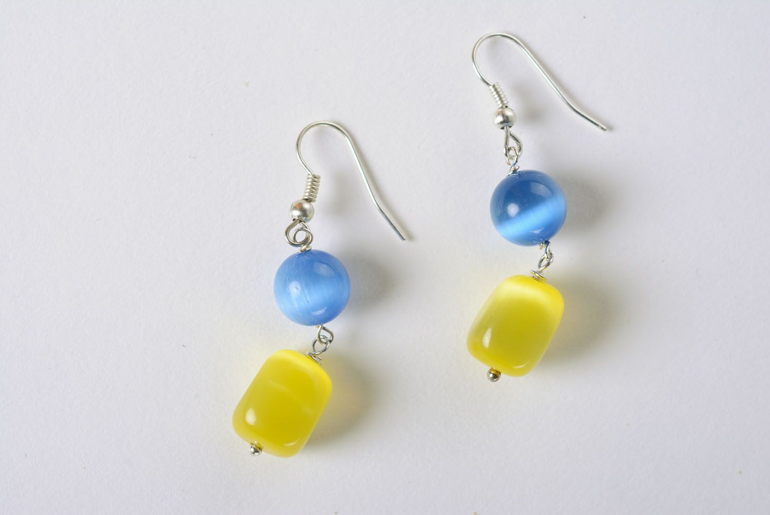 Earrings with cat's eye stone photo 2