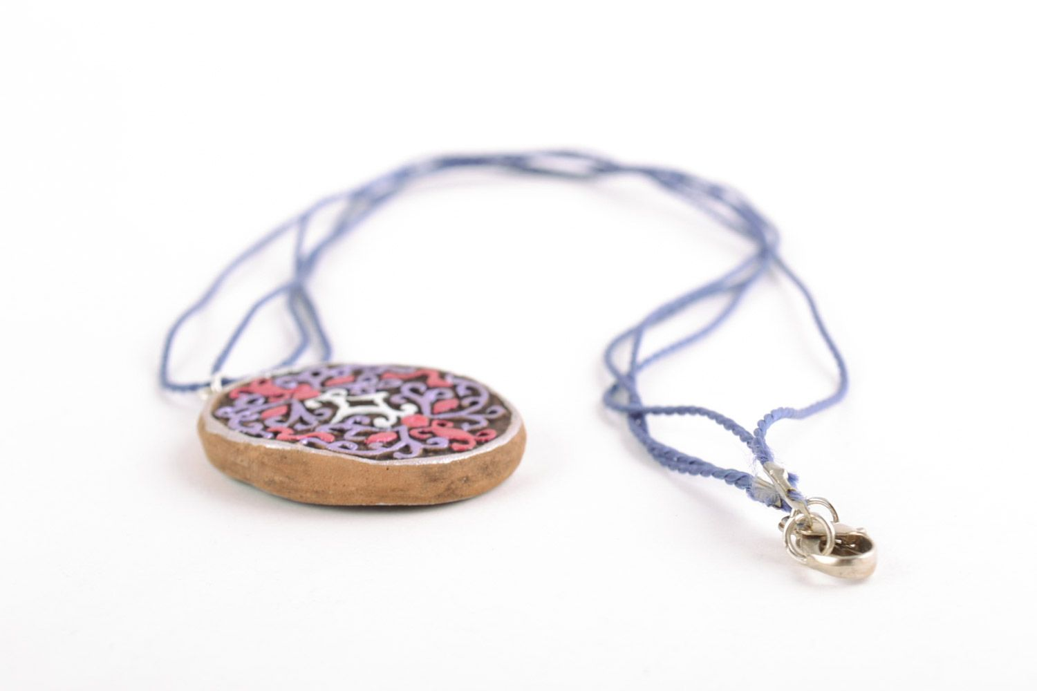 Women's homemade painted clay neck pendant of oval shape photo 4