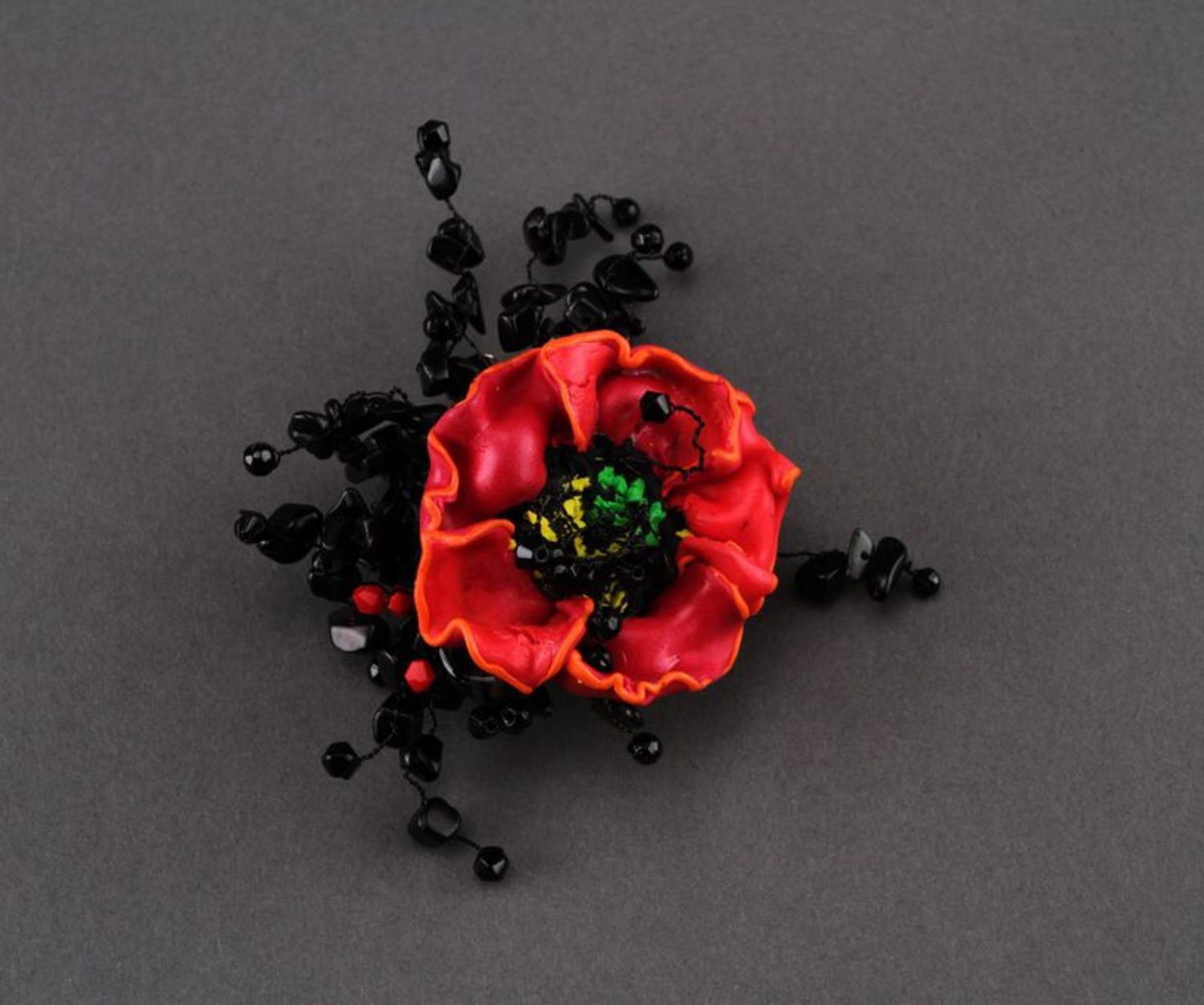 Brooch made of polymer clay photo 3