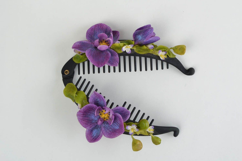 madeheart barrette cheveux en porcelaine froide fleurs violettes faite main originale. Black Bedroom Furniture Sets. Home Design Ideas