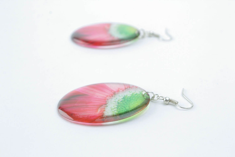 Homemade earrings Fragment of the Flower photo 3