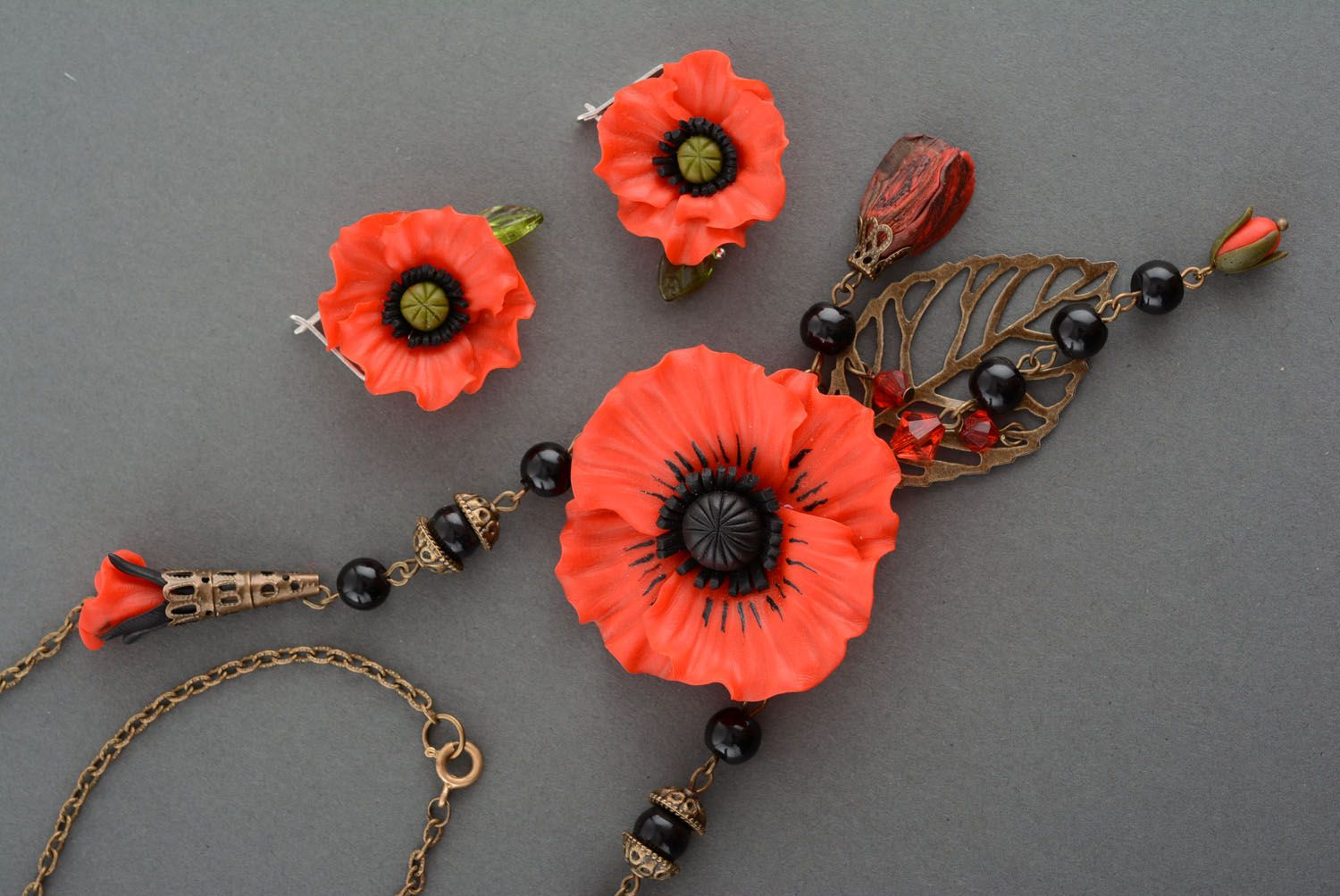Polymer clay jewelry set Poppies photo 3