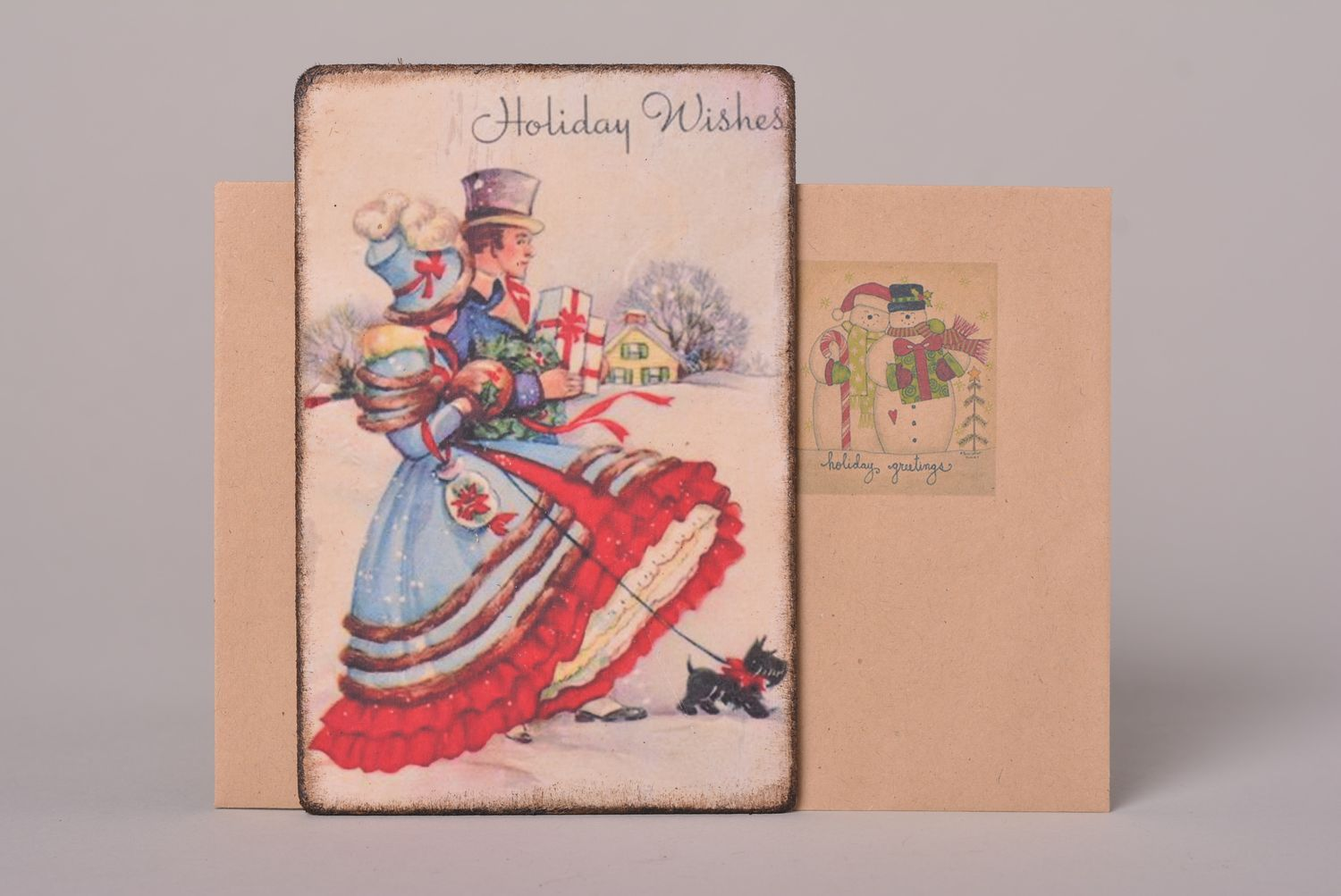 Beautiful handmade greeting cards Christmas card vintage post card small gifts photo 1