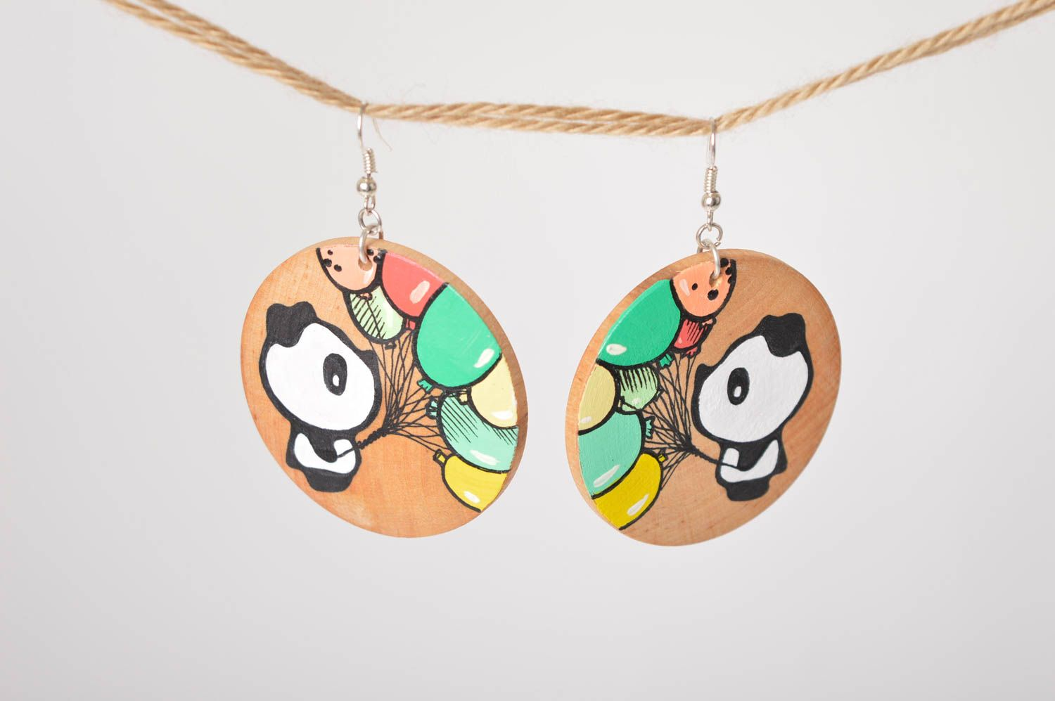 Wooden earrings handmade round earrings cute painted earrings with pandas photo 1