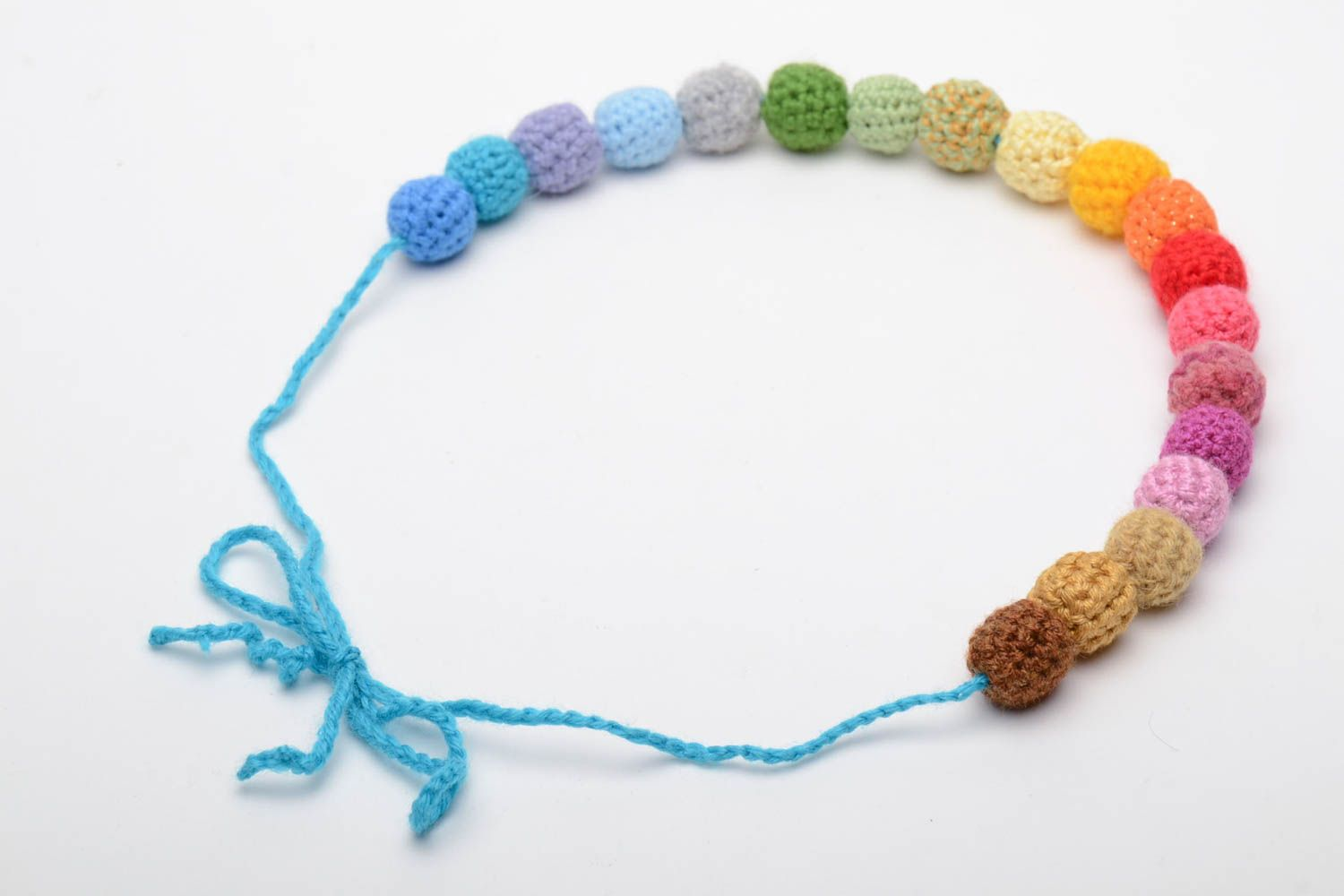 Multi-colored hand crocheted bead necklace photo 4