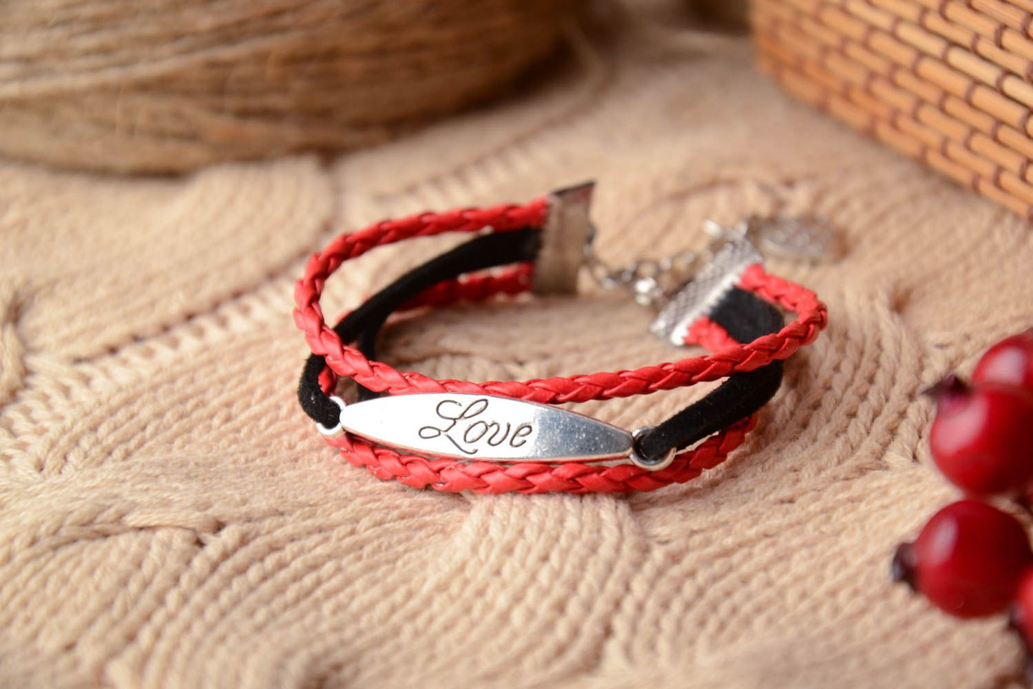Genuine leather bracelet Red and Black photo 1