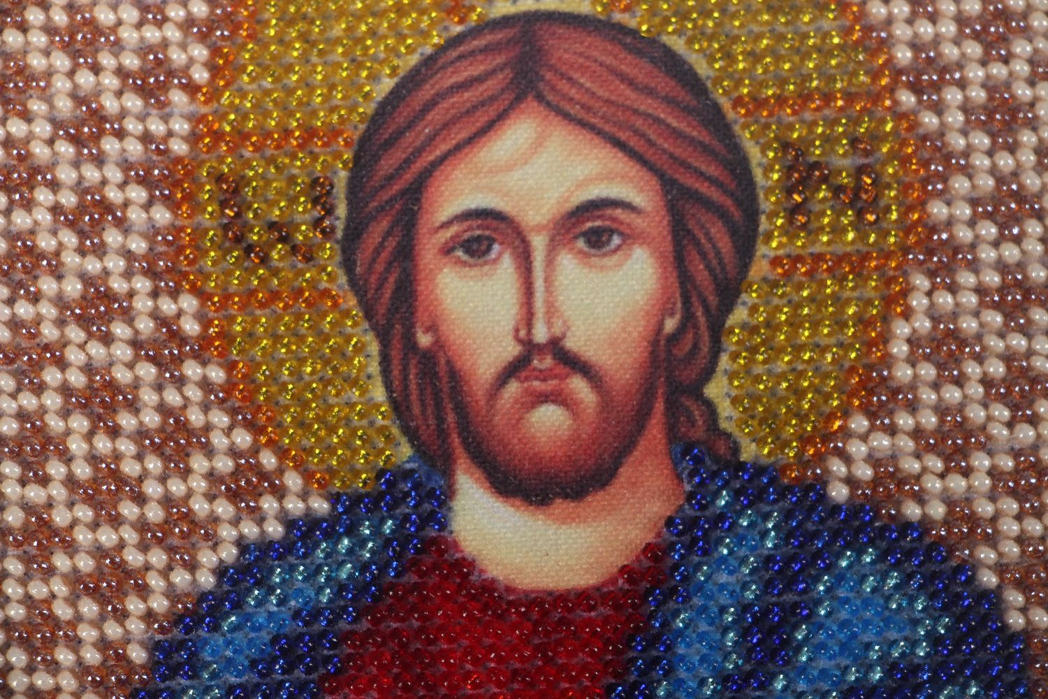 Jesus Christ icon embroidered with beads photo 3