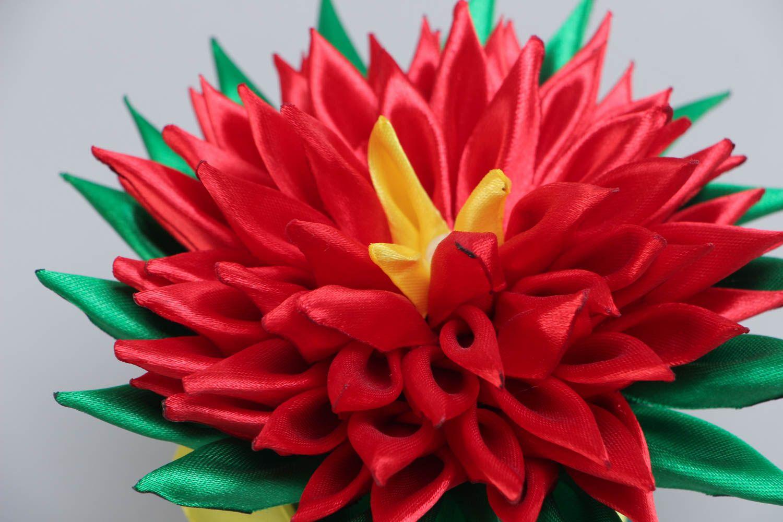 Handmade kanzashi topiary made of red satin in pot beautiful interior decor photo 3