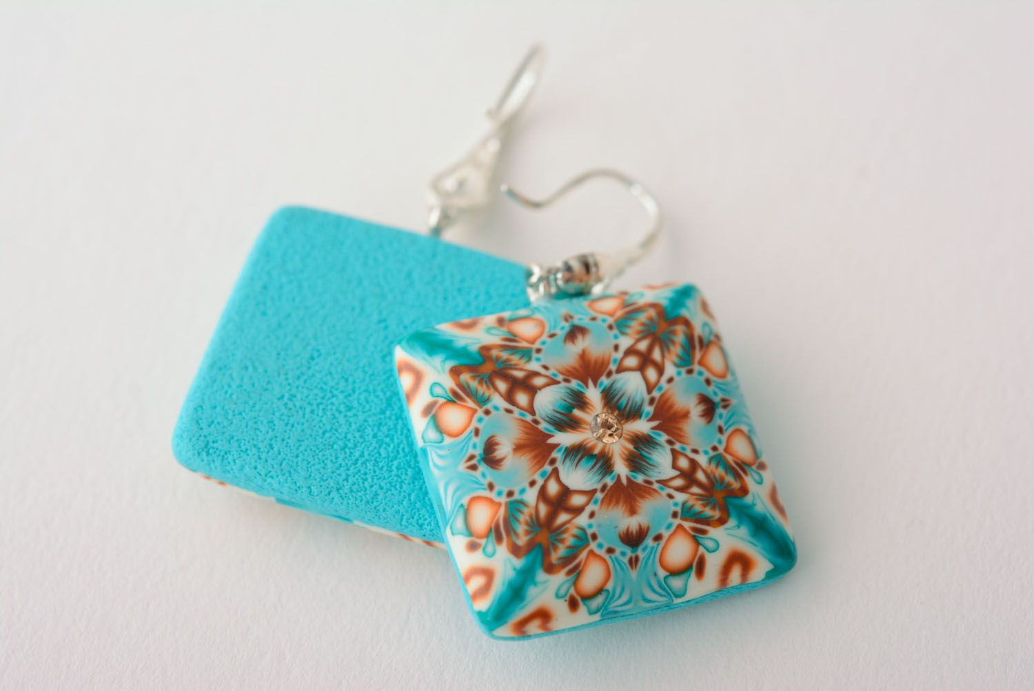 Square polymer clay earrings photo 4