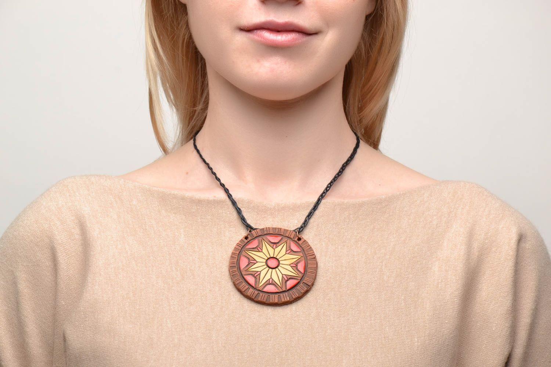 Керамический кулон с росписью этнический стиль  фото 2