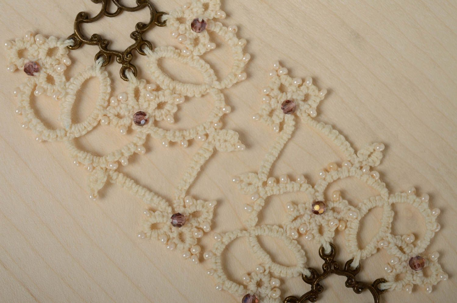 Lace tatting earrings Milky photo 3
